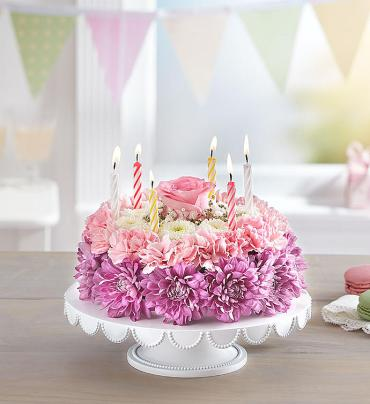 Birthday Wishes Flower Cake™ Pastel