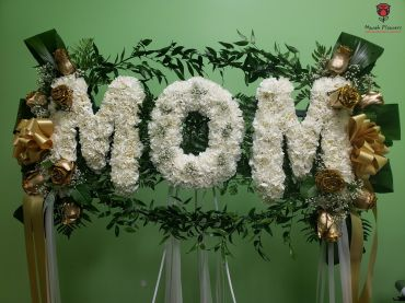 Mom White & Gold Funeral Flowers Spray