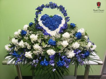 Heart Shaped Casket Spray Blue And White