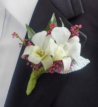 White Dendrobium Orchid Boutonniere